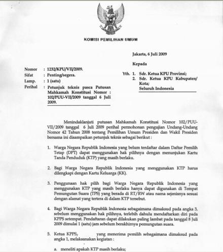 Surat Edaran no.1232 KPU