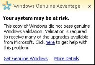 Windows Guniune Advantage Notification