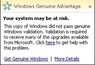 Windows Guniune Advantage Notification
