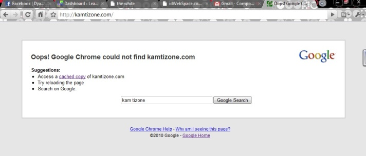 kamtizone.com getting error, offline for 3 days, hosted at Idwebspace.com